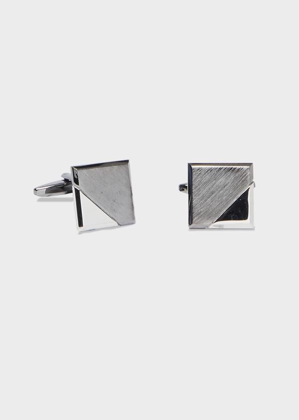 Boutons de manchettes carrés en métal foncé et clair lisse - Father and Sons 41701