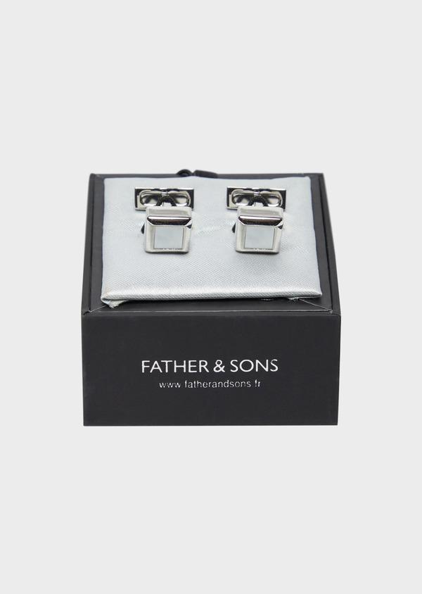 Boutons de manchettes carrés blancs - Father and Sons 37866