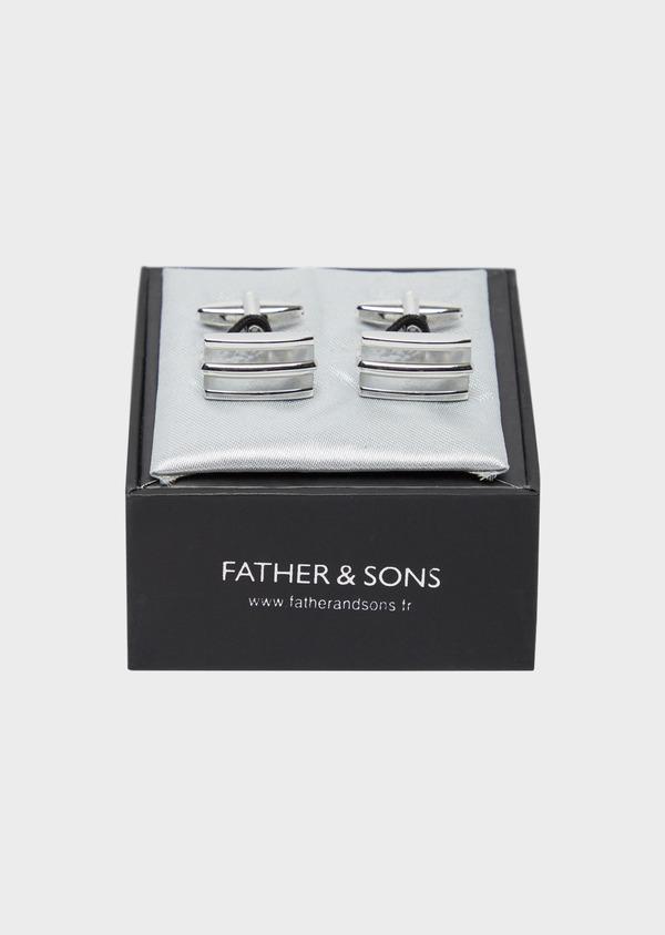 Boutons de manchettes rectangulaires argent et blanc - Father and Sons 37870