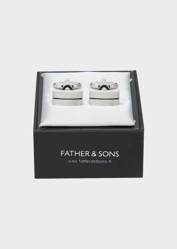 Boutons de manchettes rectangulaires argent et noir - Father and Sons 37882