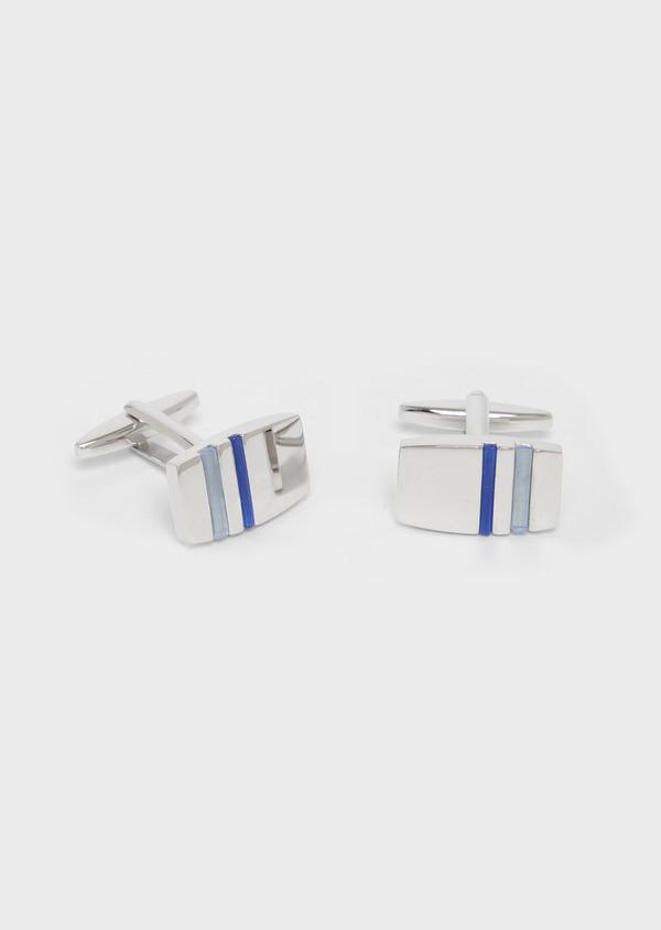 Boutons de manchettes rectangulaires argent et bleu marine - Father and Sons 37845