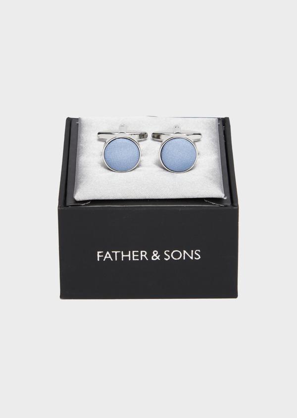 Boutons de manchettes ronds en soie bleue - Father and Sons 37290