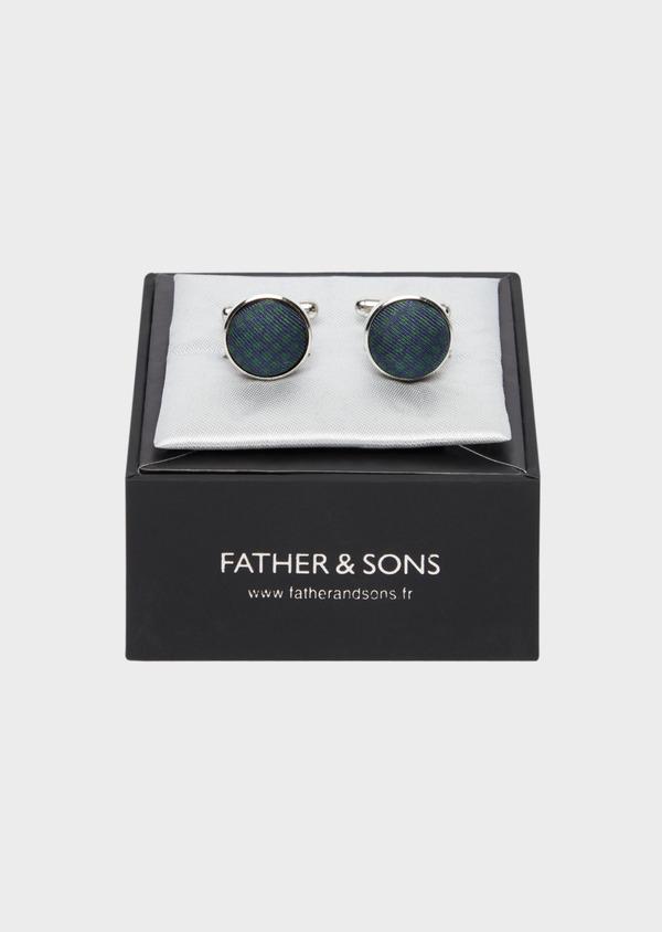 Boutons de manchettes ronds bleu et vert - Father and Sons 37856