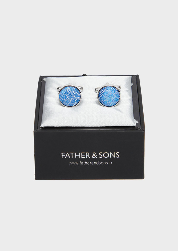 Boutons de manchettes ronds bleu clair - Father and Sons 37858