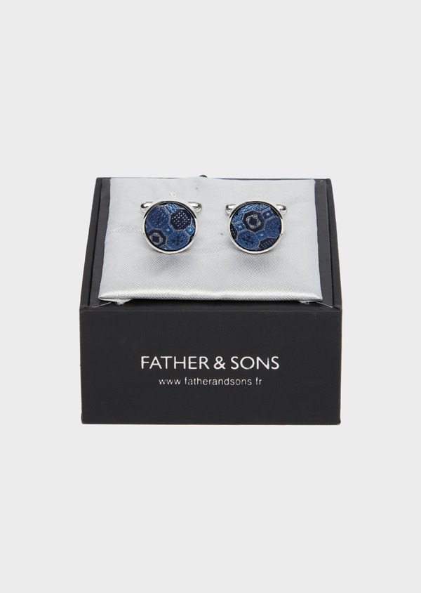 Boutons de manchettes ronds bleus à motif fantaisie - Father and Sons 37860