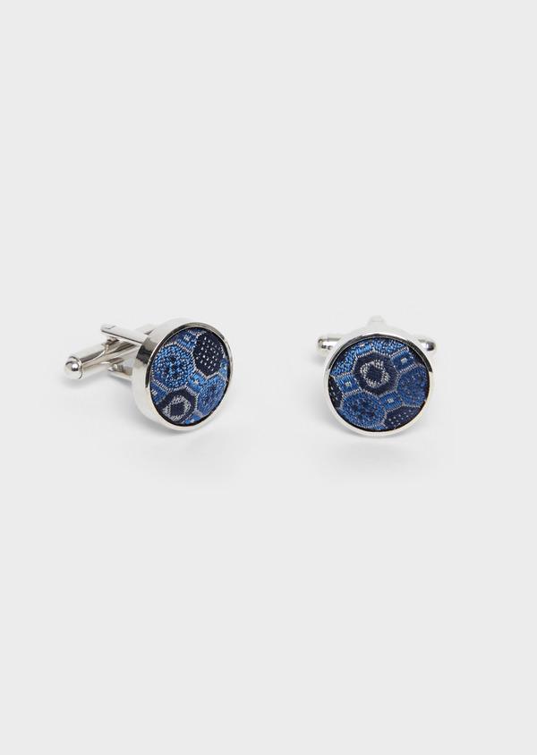 Boutons de manchettes ronds bleus à motif fantaisie - Father and Sons 37859