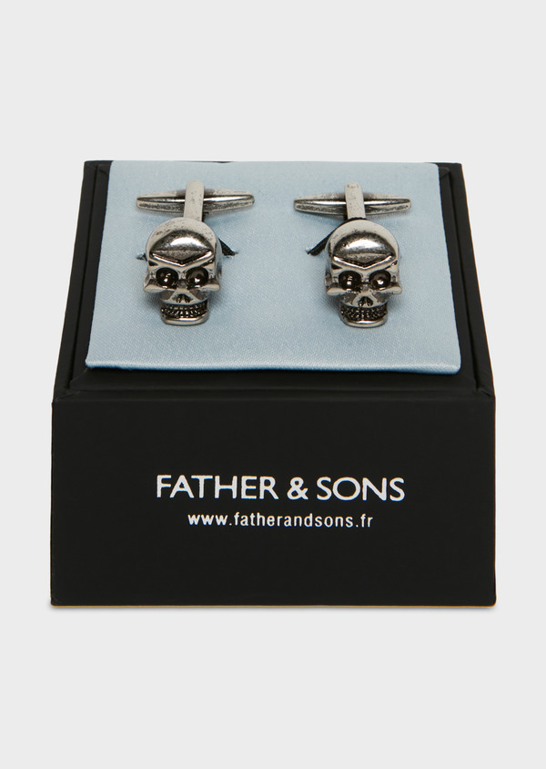 Boutons de manchettes fantaisie tête de mort argent - Father and Sons 25717