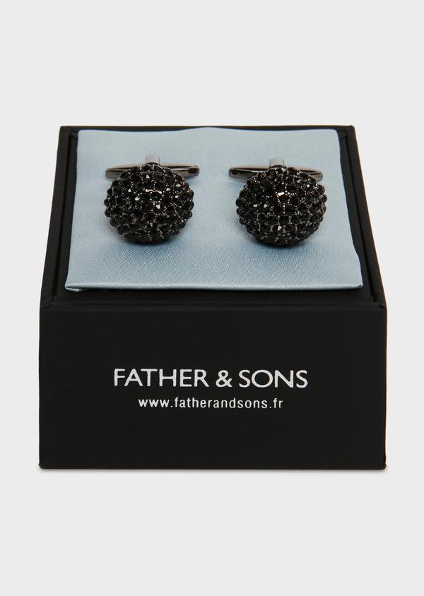 Boutons de manchettes fantaisie ronds noirs - Father and Sons 25677
