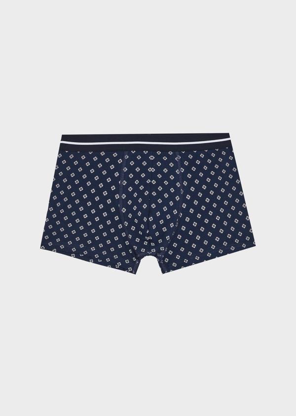 Boxer en coton stretch bleu marine à motif fantaisie blanc - Father and Sons 40486
