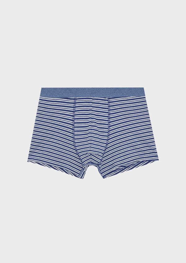 Boxer en coton stretch bleu indigo à rayures blanches - Father and Sons 40487