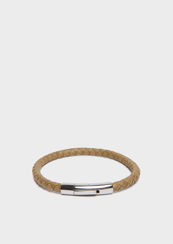 Bracelet en cuir tressé vert kaki - Father and Sons 31905