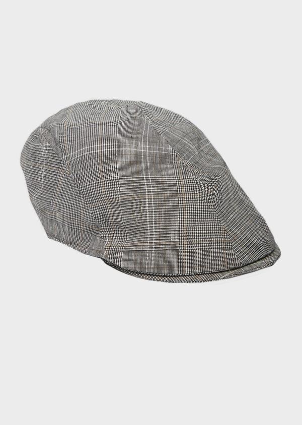 Casquette en coton et lin Prince de Galles gris anthracite - Father and Sons 40483
