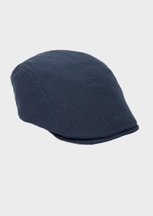 Casquette en coton et lin Prince de Galles bleu marine - Father and Sons 40485