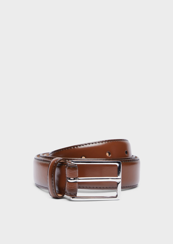 Ceinture en cuir lisse camel - Father and Sons 37947