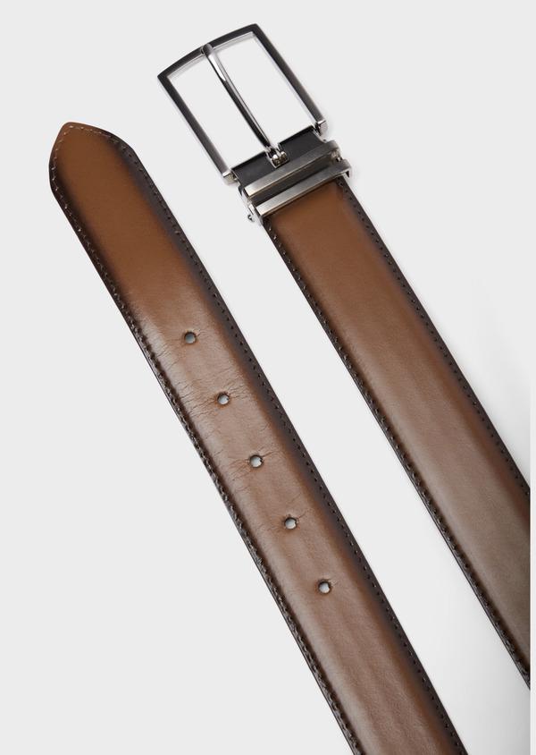 Ceinture ajustable en cuir lisse marron ombré - Father and Sons 37934