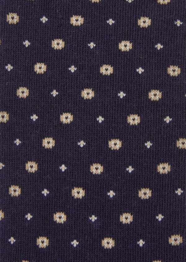 Chaussettes en coton mélangé bleu foncé à motif fantaisie - Father and Sons 37696