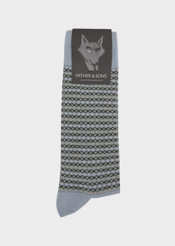 Chaussettes en coton melangé bleu chambray à motif fantaisie - Father and Sons 37701
