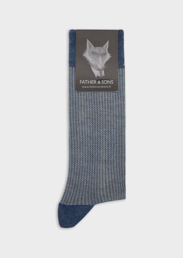 Chaussettes en coton melangé bleu à motif fantaisie - Father and Sons 37727