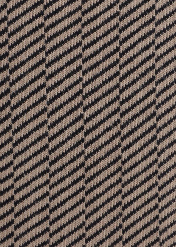 Chaussettes en coton mélangé camel à rayures diagonales grises - Father and Sons 35587