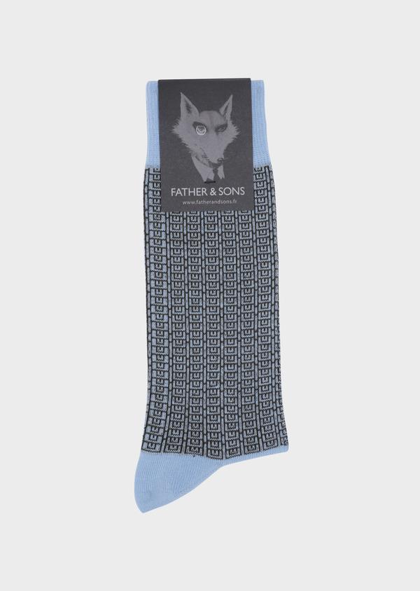 Chaussettes en coton mélangé bleu ciel à motifs géométriques vert kaki - Father and Sons 34809