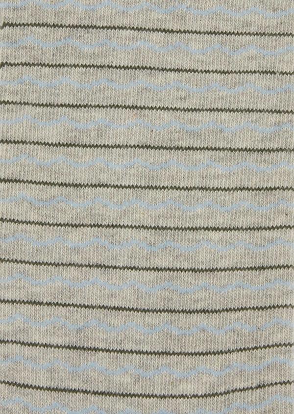 Chaussettes en coton melangé gris à rayures bleu et marron - Father and Sons 37698