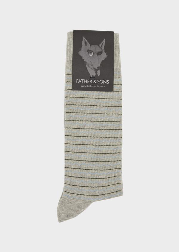 Chaussettes en coton melangé gris à rayures bleu et marron - Father and Sons 37697