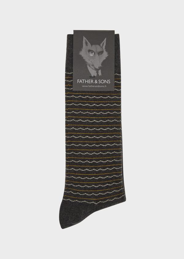 Chaussettes en coton melangé gris foncé à motif fantaisie - Father and Sons 37709