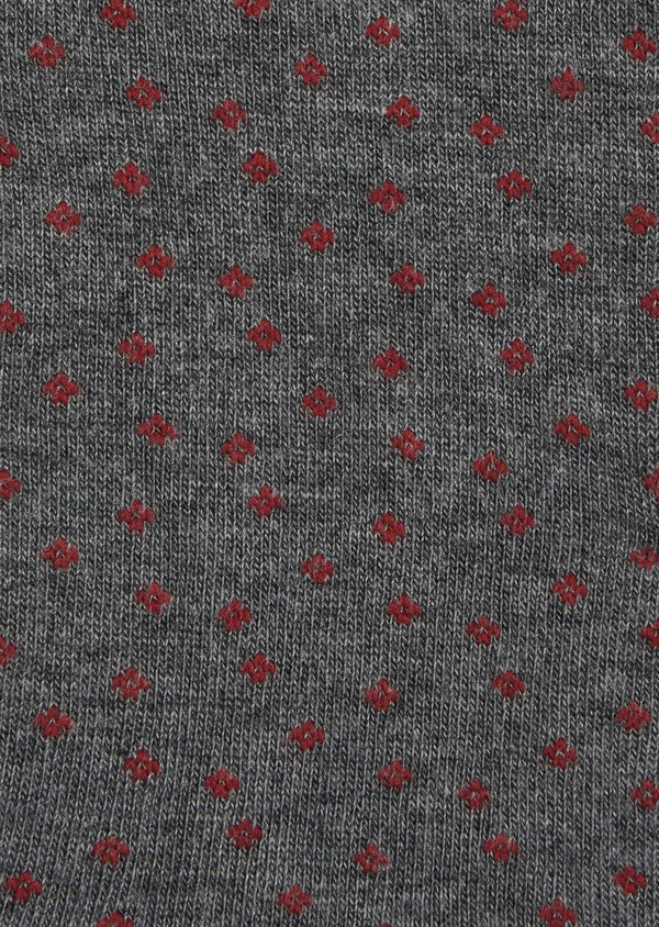 Chaussettes en coton melangé gris à pois rouges - Father and Sons 37726