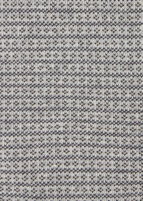 Chaussettes en coton mélangé gris clair à motif fantaisie camel et gris - Father and Sons 40758
