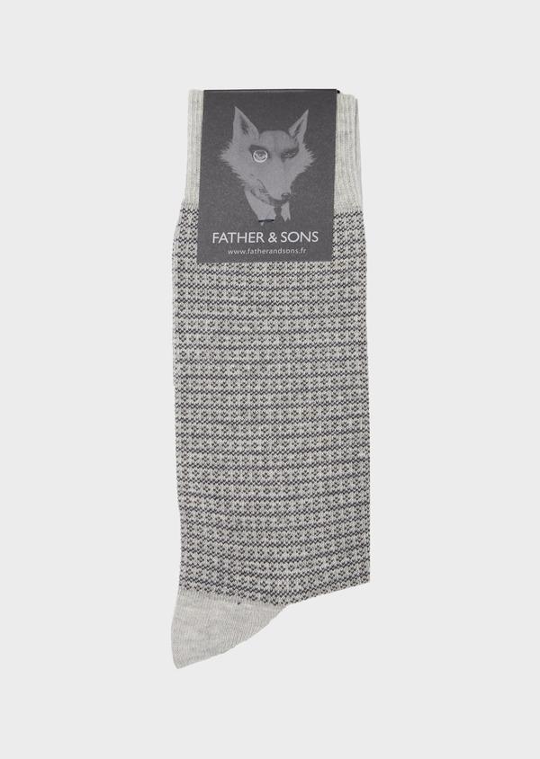 Chaussettes en coton mélangé gris clair à motif fantaisie camel et gris - Father and Sons 40757