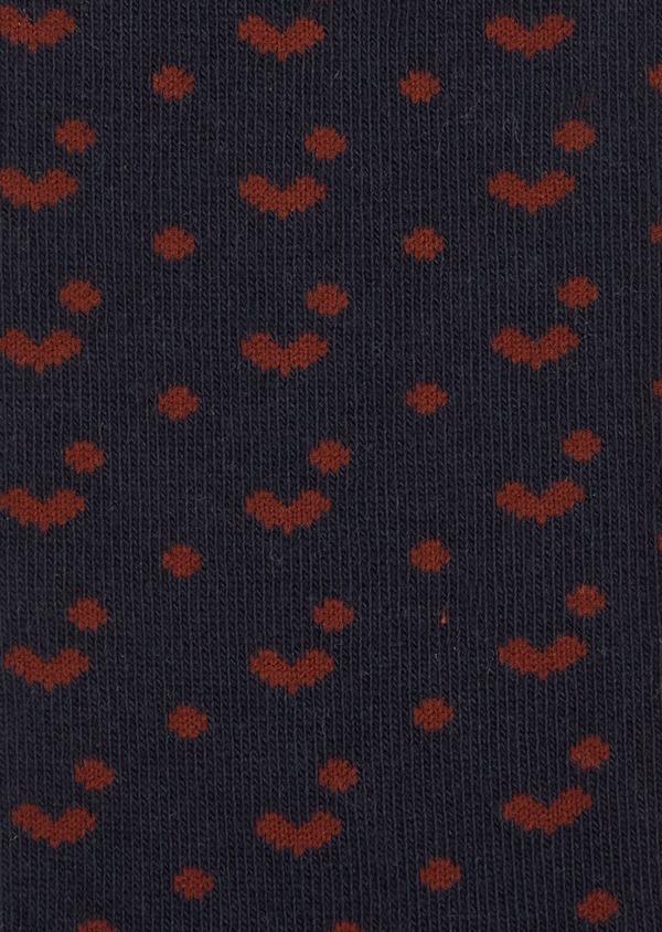Chaussettes en coton melangé bleu marine à motif fantaisie marron - Father and Sons 37718