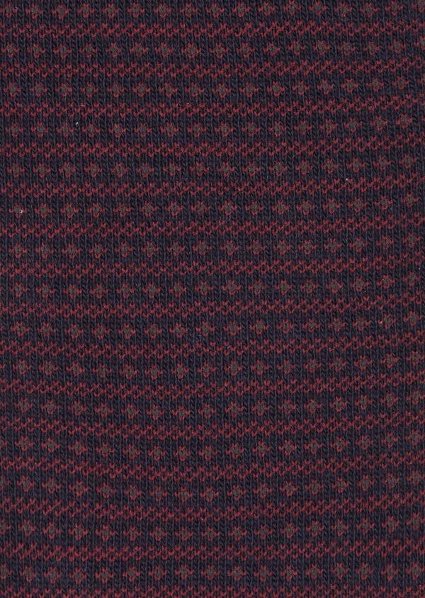 Chaussettes en coton mélangé marine à motif fantaisie bordeaux - Father and Sons 40774