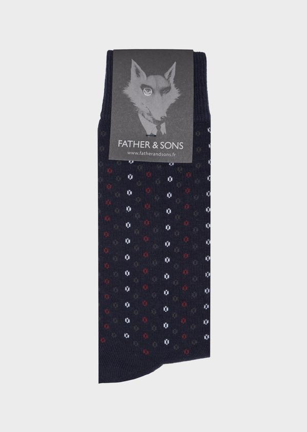 Chaussettes en coton mélangé marine à motif fantaisie bordeaux, gris et blanc - Father and Sons 40777