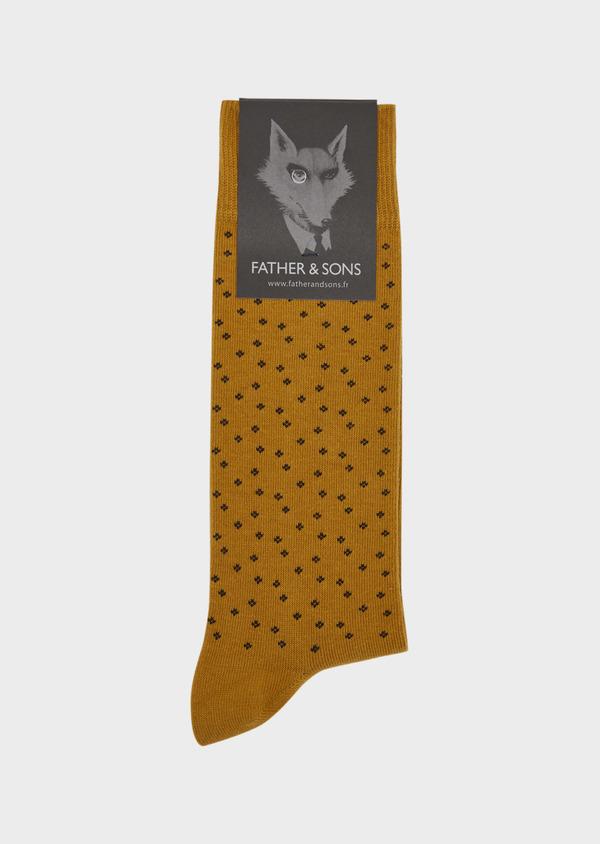 Chaussettes en coton melangé marron à motifs noirs - Father and Sons 37711