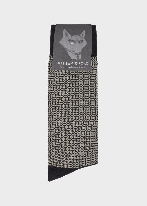 Chaussettes en coton mélangé noir à motif fantaisie camel et gris - Father and Sons 40755