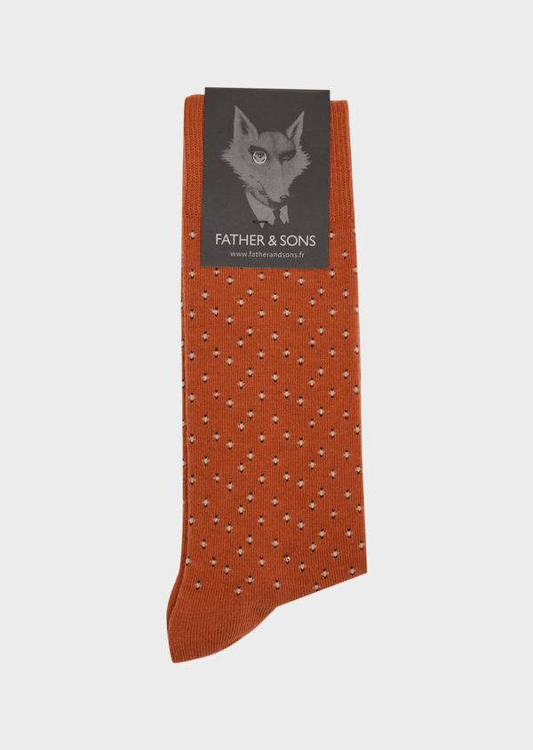 Chaussettes en coton mélangé orange foncé à motif rond blanc - Father and Sons 37689