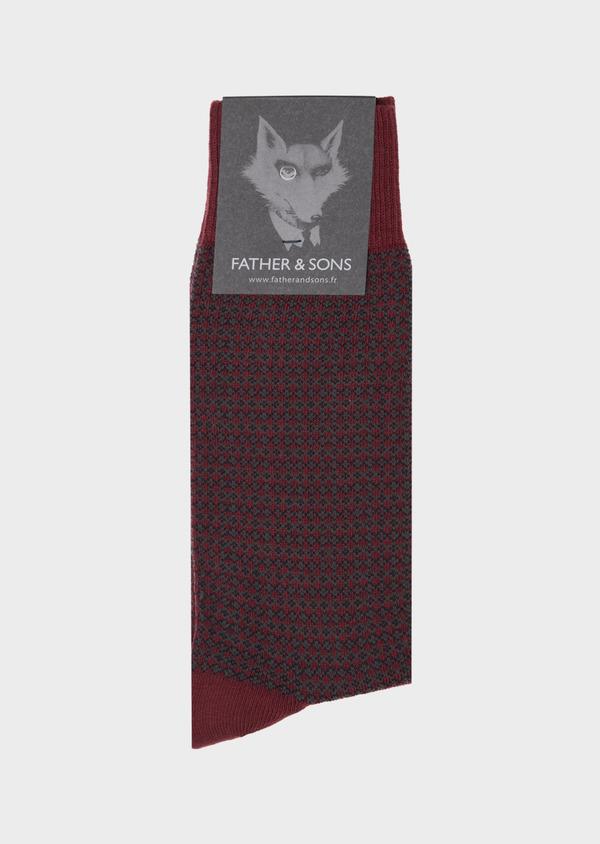 Chaussettes en coton mélangé bordeaux à motif fantaisie marine et gris - Father and Sons 40771