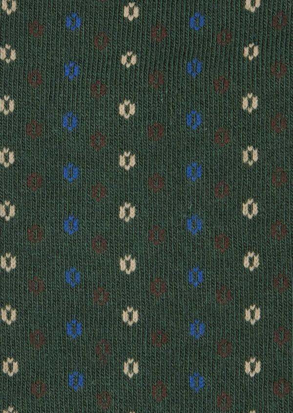 Chaussettes en coton mélangé vert à motif fantaisie marron, beige et bleu - Father and Sons 40764