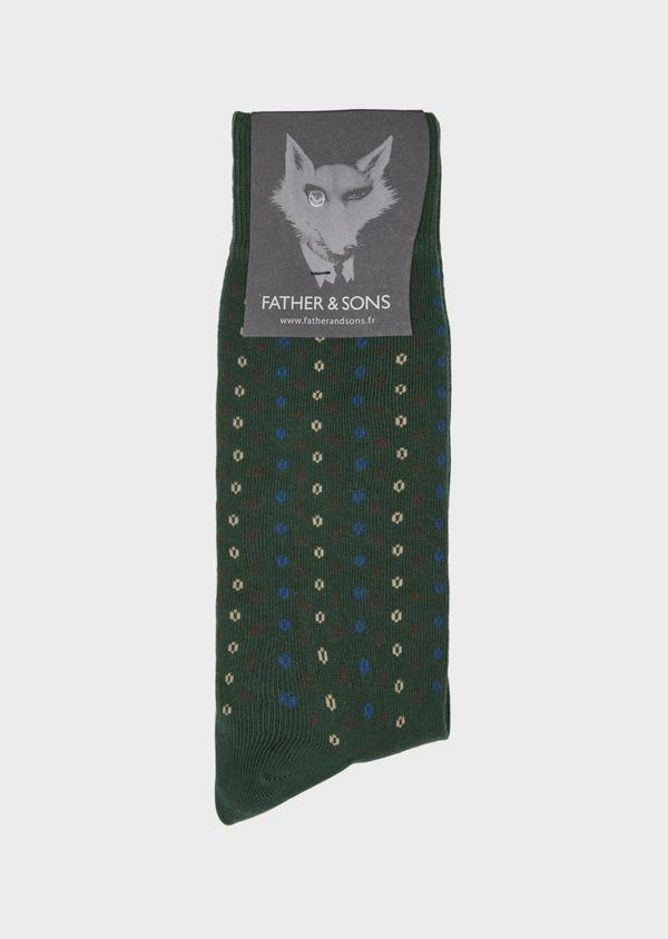 Chaussettes en coton mélangé vert à motif fantaisie marron, beige et bleu - Father and Sons 40763