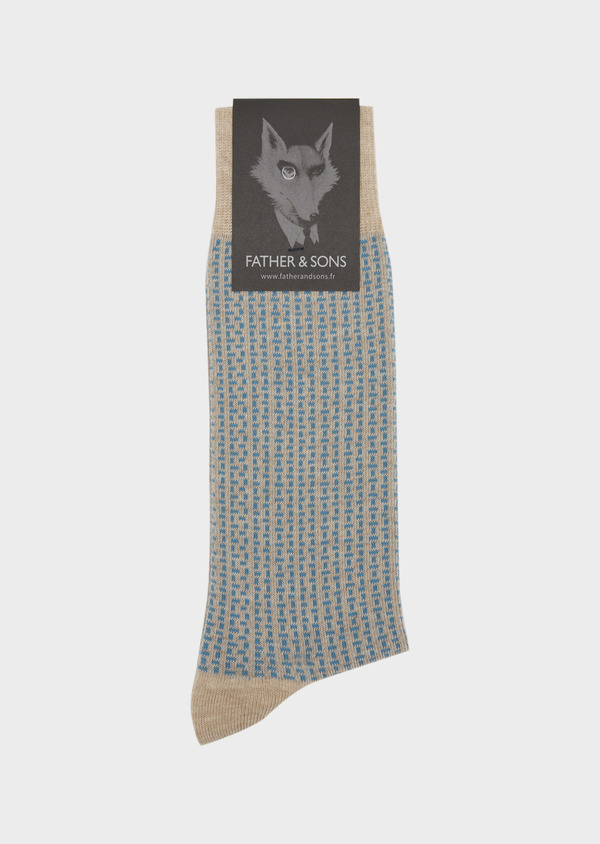 Chaussettes en coton melangé beige à motifs géométriques bleu ciel - Father and Sons 37703