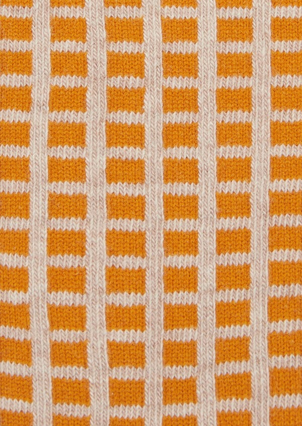 Chaussettes en coton melangé beige foncé à motifs géométriques - Father and Sons 39457