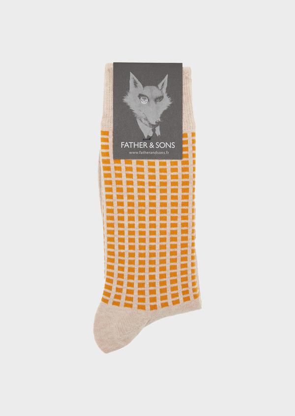 Chaussettes en coton melangé beige foncé à motifs géométriques - Father and Sons 39456