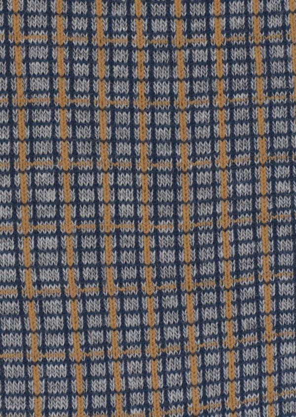Chaussettes en coton mélangé gris clair à carreaux bleu et jaune - Father and Sons 35575