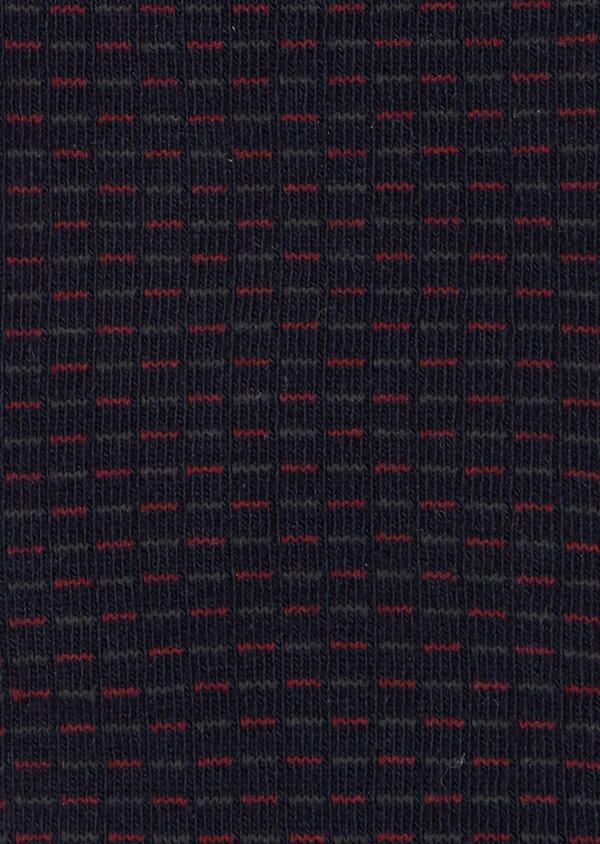 Chaussettes en coton mélangé marine à motifs géométriques bordeaux et gris - Father and Sons 40770