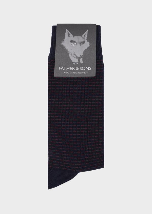 Chaussettes en coton mélangé marine à motifs géométriques bordeaux et gris - Father and Sons 40769