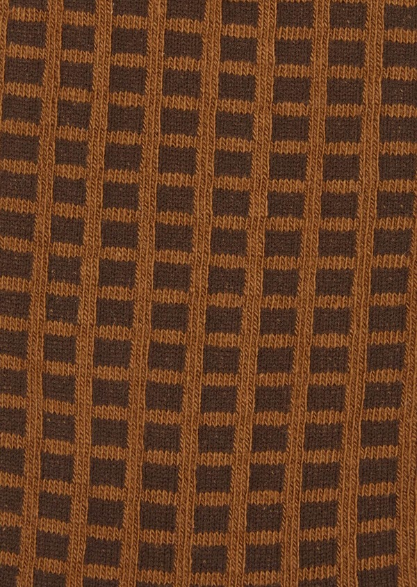 Chaussettes en coton melangé marron à motifs géométriques noir - Father and Sons 37706