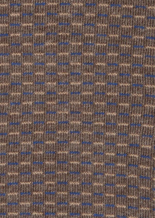 Chaussettes en coton mélangé marron à motifs géométriques bleu et marron clair - Father and Sons 40766