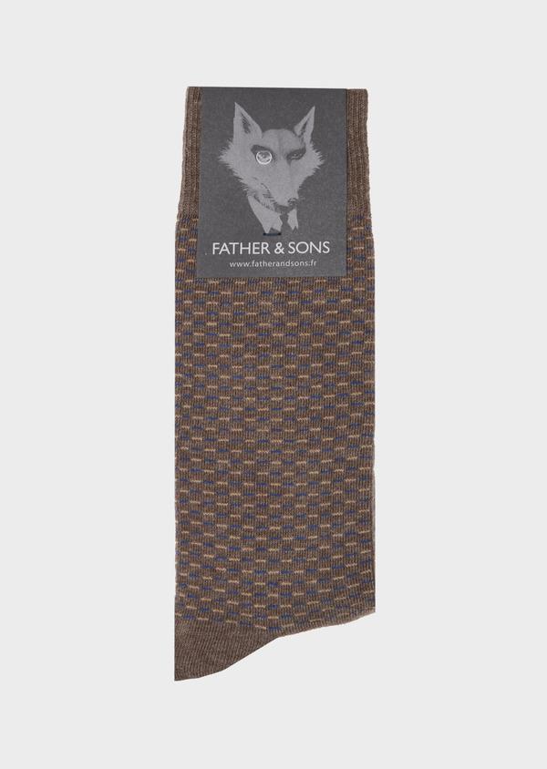 Chaussettes en coton mélangé marron à motifs géométriques bleu et marron clair - Father and Sons 40765