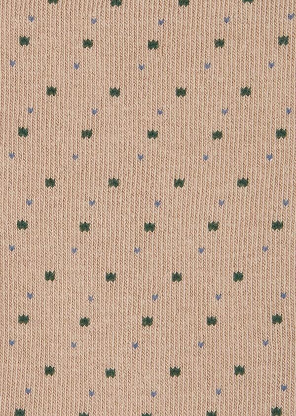 Chaussettes en coton mélangé beige à pois bleu et vert - Father and Sons 40768