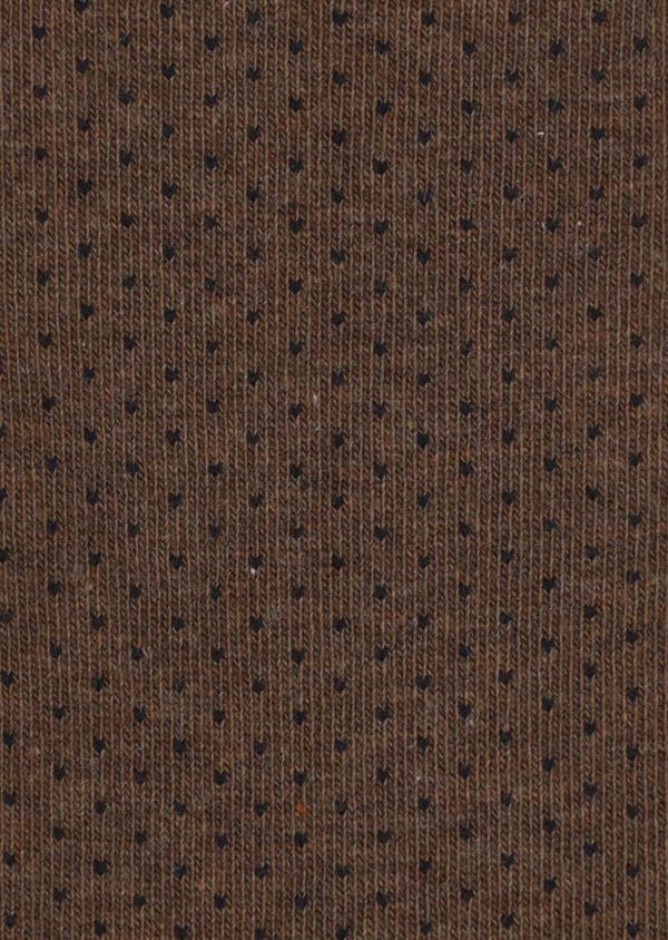 Chaussettes en coton mélangé cognac à pois gris - Father and Sons 35579
